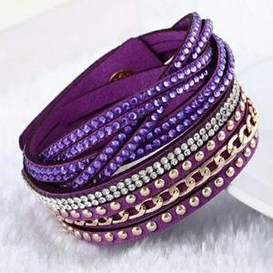 Purple Leather Bracelet Punk Style